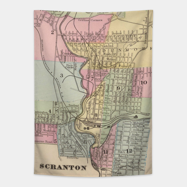 Vintage Map of Scranton PA (1890) on