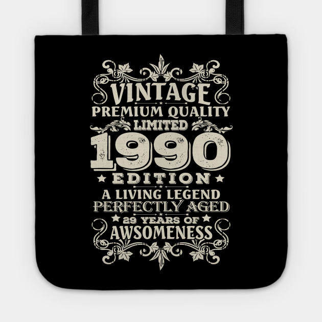 29th Birthday Gift Tote Shopping Bag Limited Edition 1990 Matured To Perfection