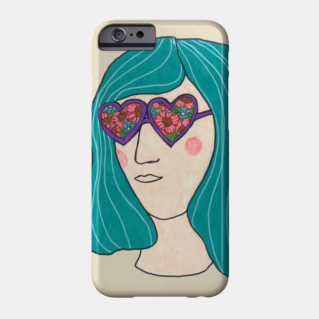 2d5196b744 Flower Sunglasses - Hippie Flower Design - Phone Case