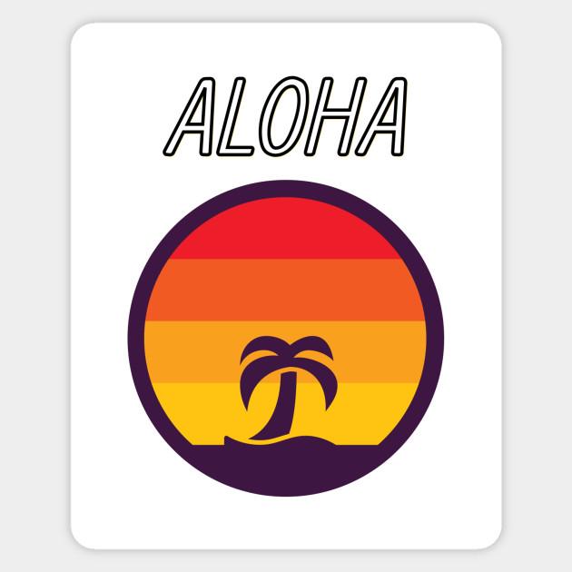 Hawaii Aloha Retro Vintage Sunset Palm Tree Ocean