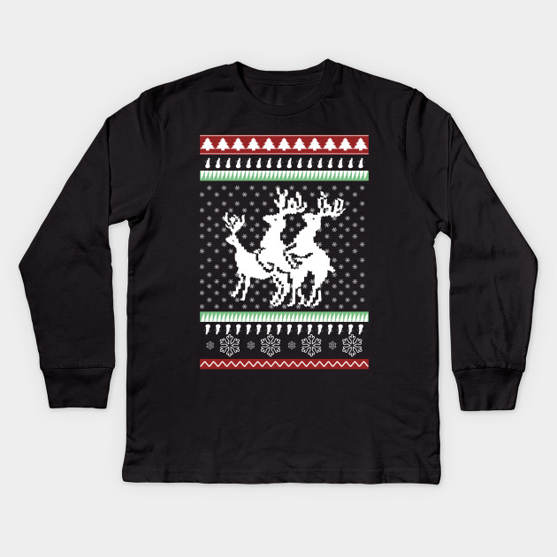 c598d0fac Ugly Christmas Party Sweater Humping Reindeer Funny Gift Kids Long Sleeve T- Shirt