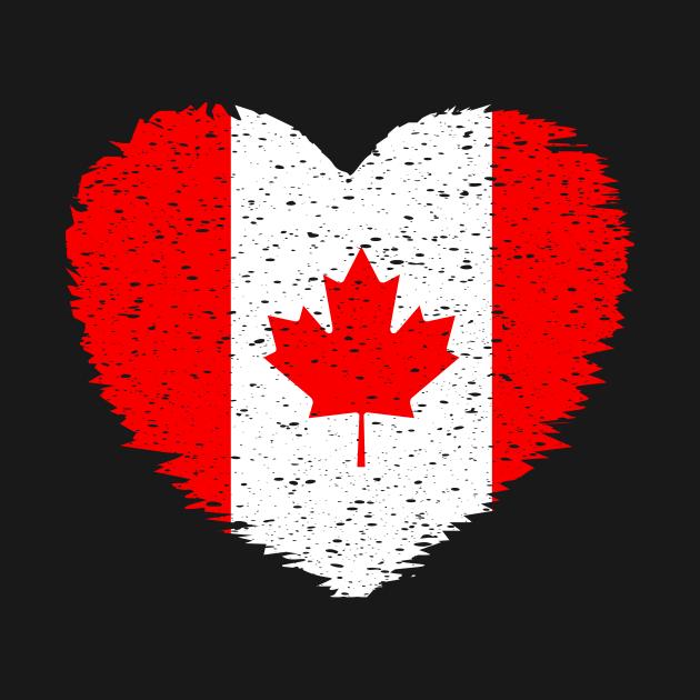 Canada Grunge Distress Heart Flag  Design