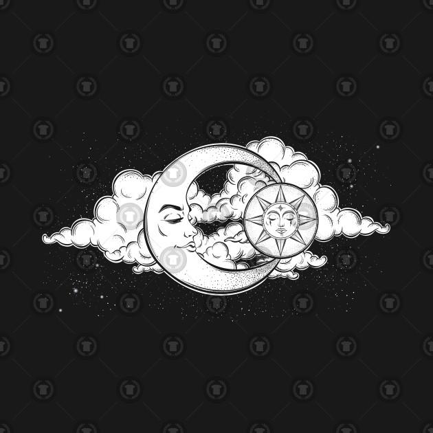 Sun Moon Vintage Night Sky Clouds