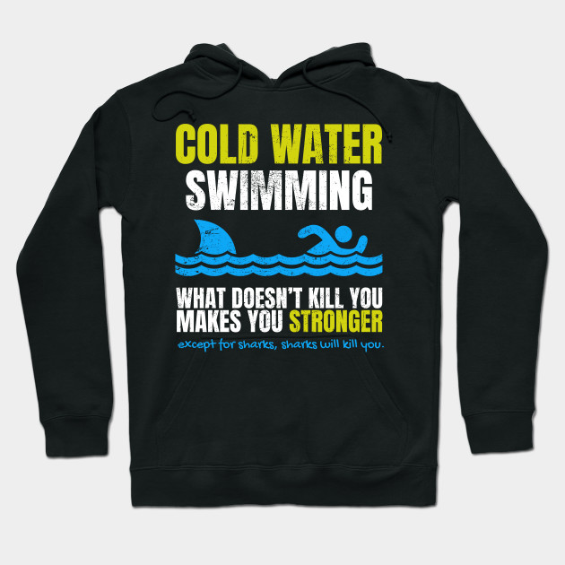 Funny Cold Water Swimming Shark Hoodie