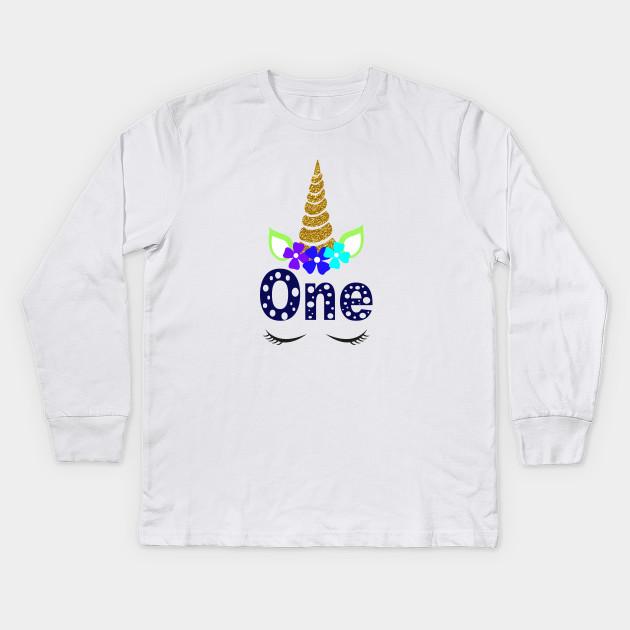 Unicorn 1 Year Old Birthday Shirt First T Kids Long Sleeve