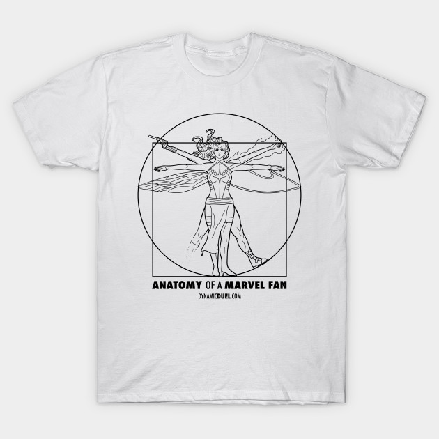 Anatomy of a Marvel Fan (Female) Black Line Art - Marvel - T-Shirt ...