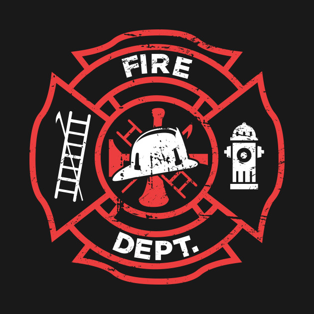 New Distressed Firefighter Logo - Fire Department - T-Shirt | TeePublic LY27