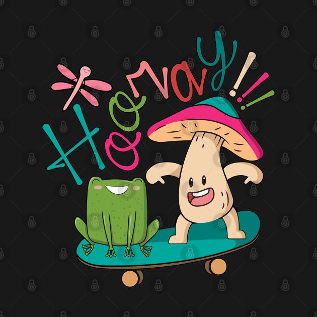 Sweet Frog Skateboarding With A Mushroom