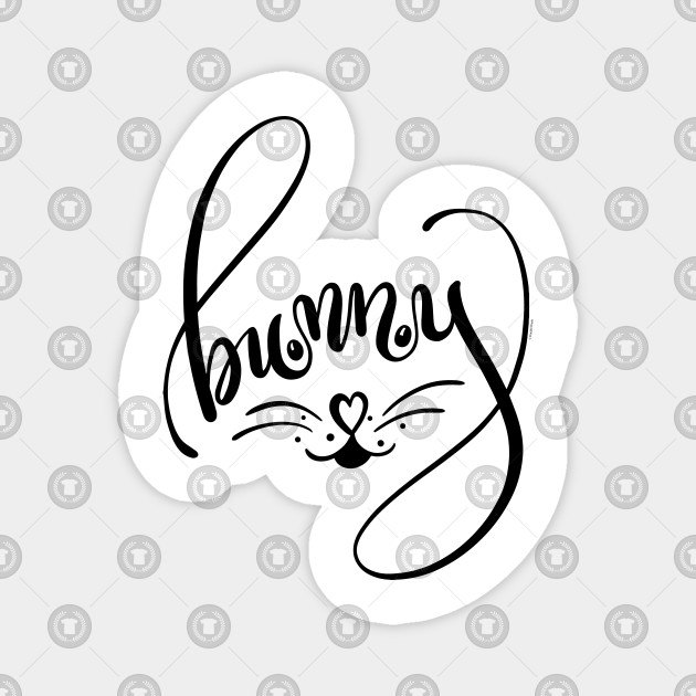 Bunny Word Art Bunny Face Hand Lettered Design