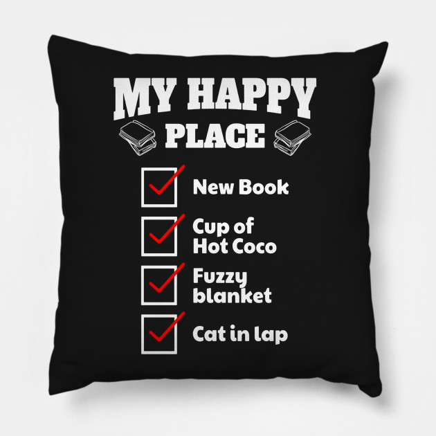 New Book Lover My Happy Place Checklist Coco Cat TShirt Adorable Book Lovers Throw Blanket