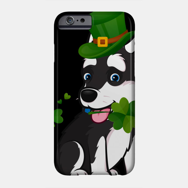 St Patrick Day Cute Husky Shamrock Funny Dog Lover Gift Phone Case