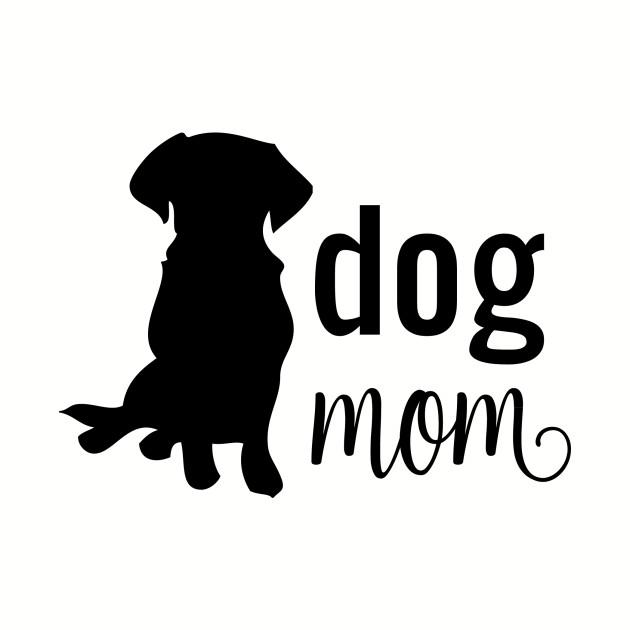 Dog Mom Silhouette Black