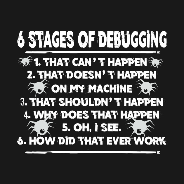 Six 6 Stages Of Debugging Funny Programmer