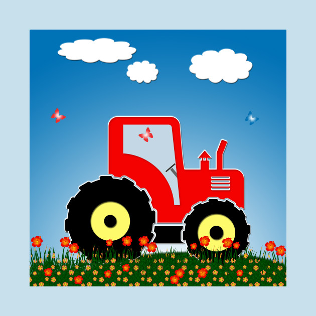 Red tractor in a field