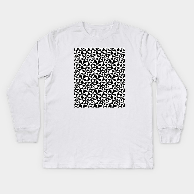 453dafea1aa7 Abstract Geometric Triangles Pattern Black and White Kids Long Sleeve T- Shirt