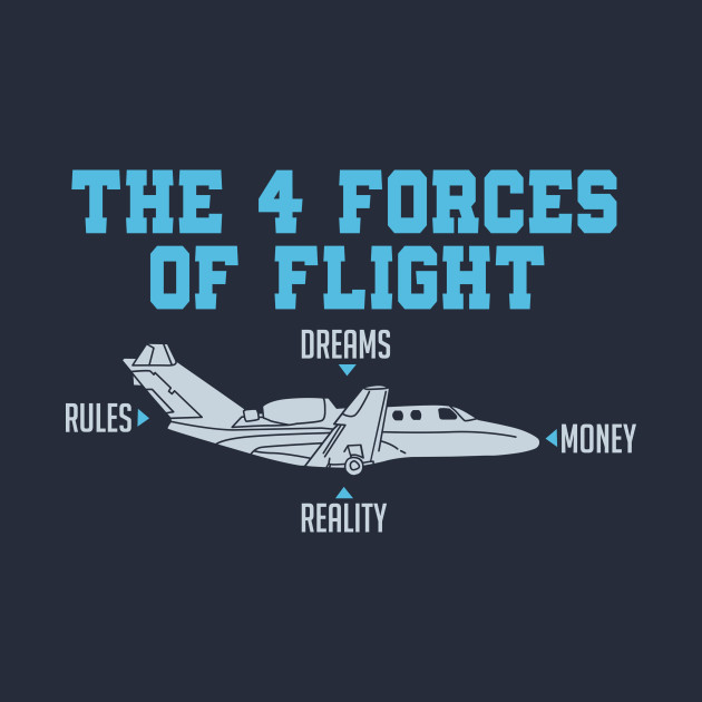 The 4 Forces Of Flight - Funny Aviation Quotes - T-Shirt ...
