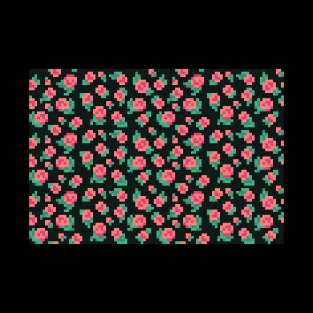Pixel Rose Pattern - 8bit Roses - Mug