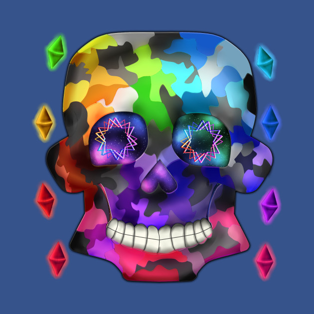 Rainbow Camouflage Skull