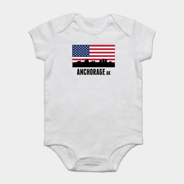 Anchorage Ak American Flag Anchorage Onesie Teepublic