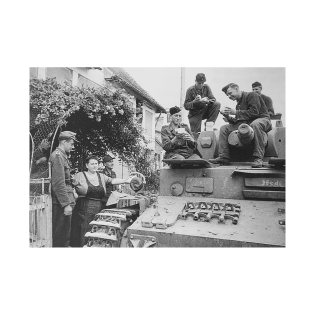 German WW2 21st Panzer Tank Division Relaxing Near Normandy 1944