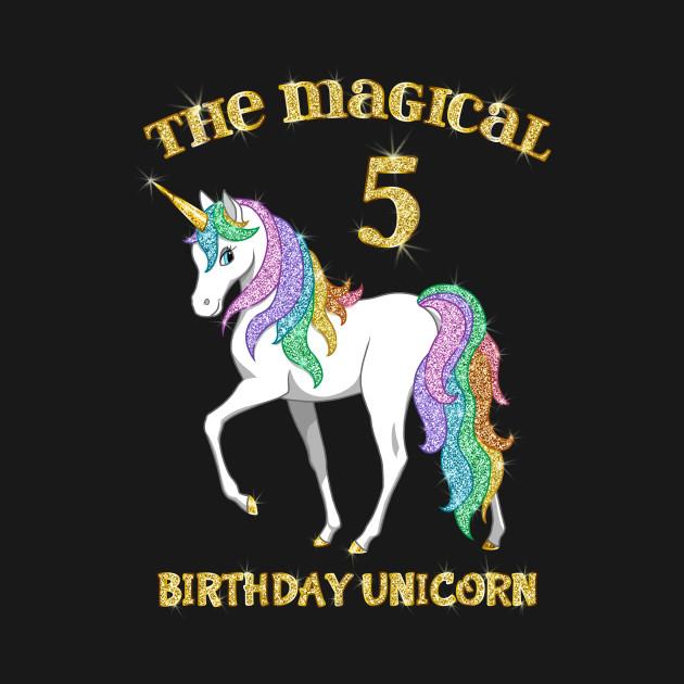 Cute Rainbow Gold Unicorn 5th Birthday Girl