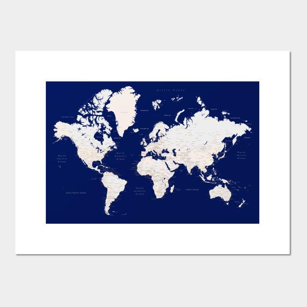Navy Blue And Light Brown Detailed World Map Art Gavin World Map