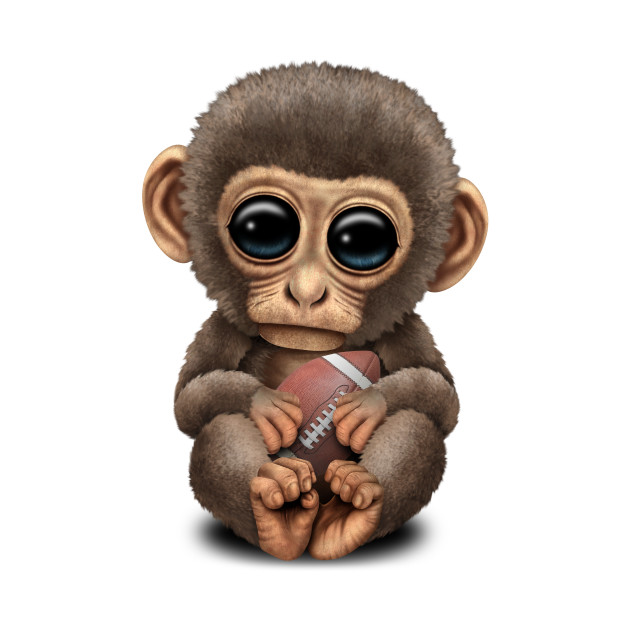 Cute Baby Monkey Playing With Football