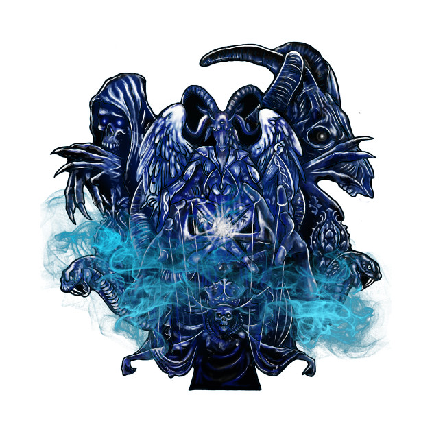 Baphomet Satanist Goat & Skeleton King Demon Gothic