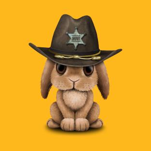 cc86378f Cute Baby Bunny Rabbit Sheriff T-Shirt