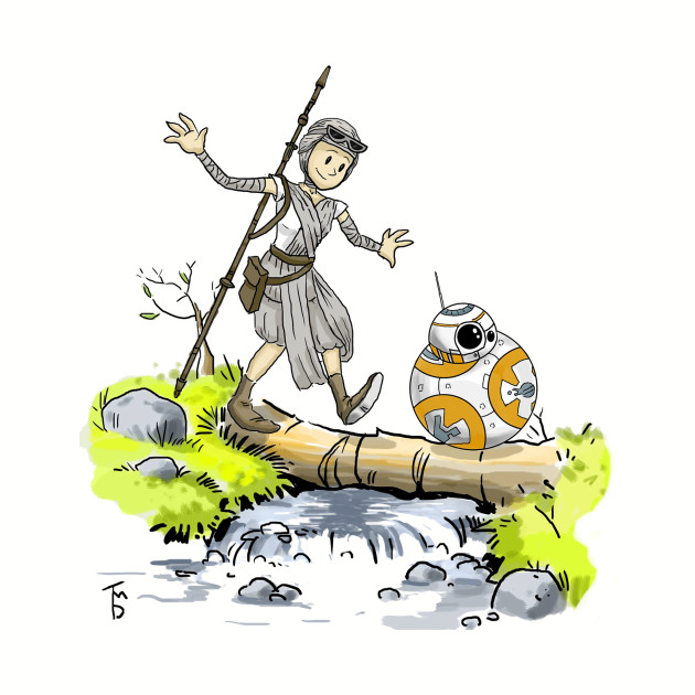 BB8 and Rey / Calvin and Hobbes Crossover