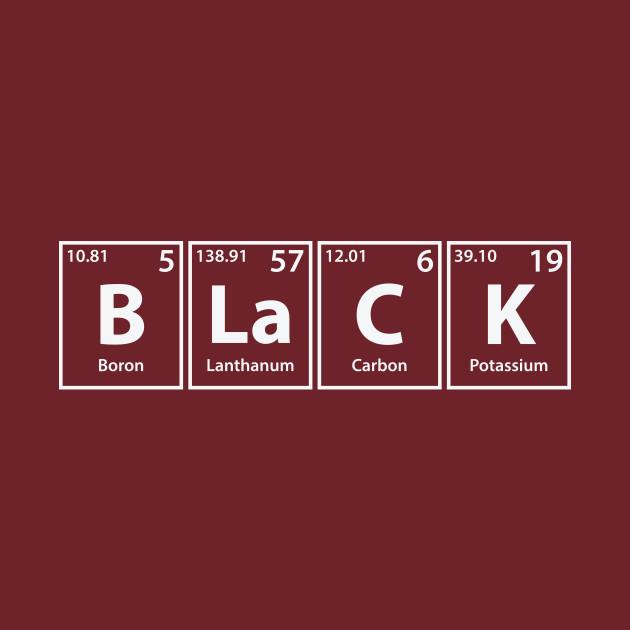 Black (B-La-C-K) Periodic Elements Spelling