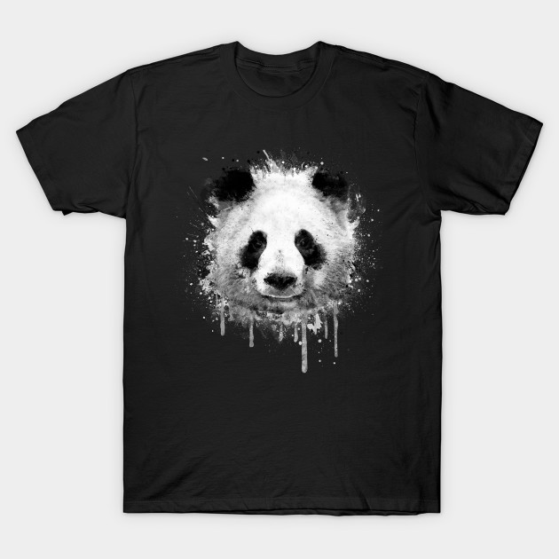 Cool Abstract Panda Portrait in Black & White - Animal - T-Shirt ...