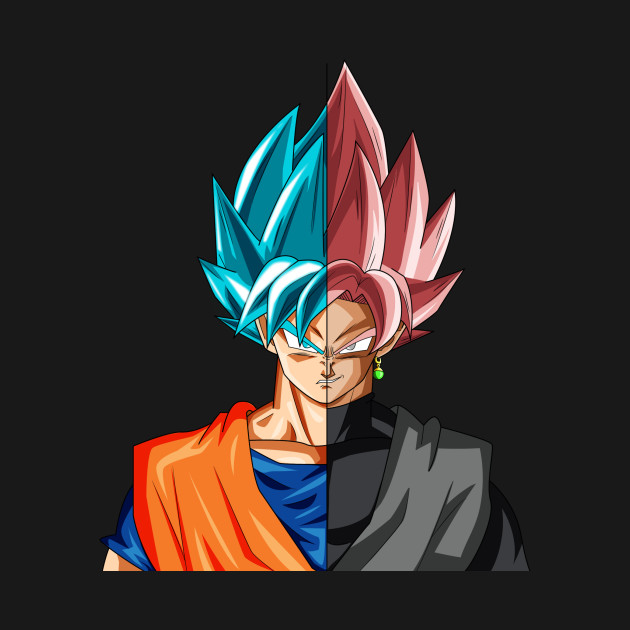 Half Face Goku And Goku Black TShirt
