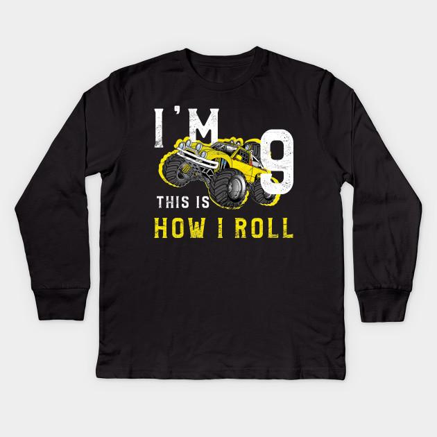 Monster Truck Birthday Shirt Im 9 Years Old Kids Long Sleeve T