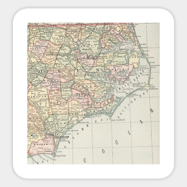Vintage Map of Eastern North Carolina (1891)