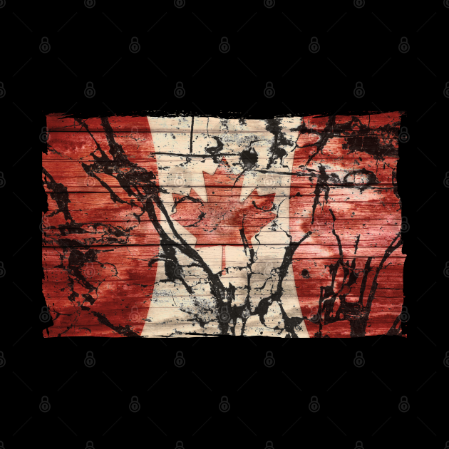 Grunge Canada Flag Rustic Red Aged White