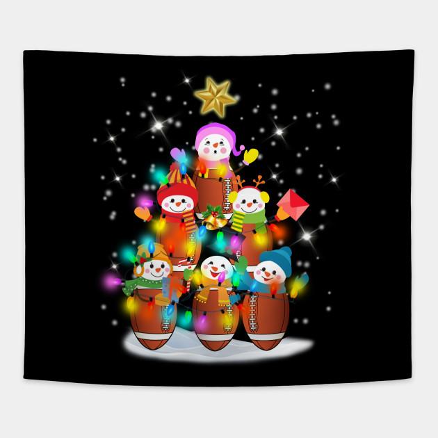 American Football Snowman Christmas Tree