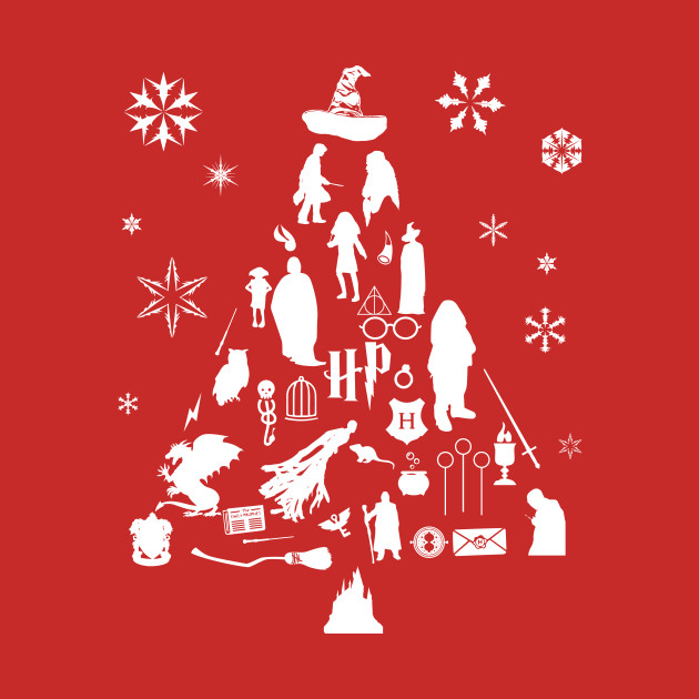 Christmas Harry Potter.Harry Potter Christmas Tree Silhouette