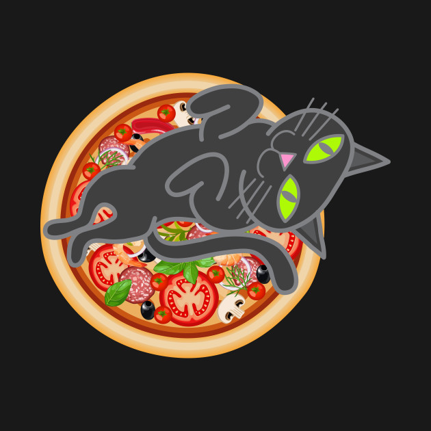 Cat loves pizza