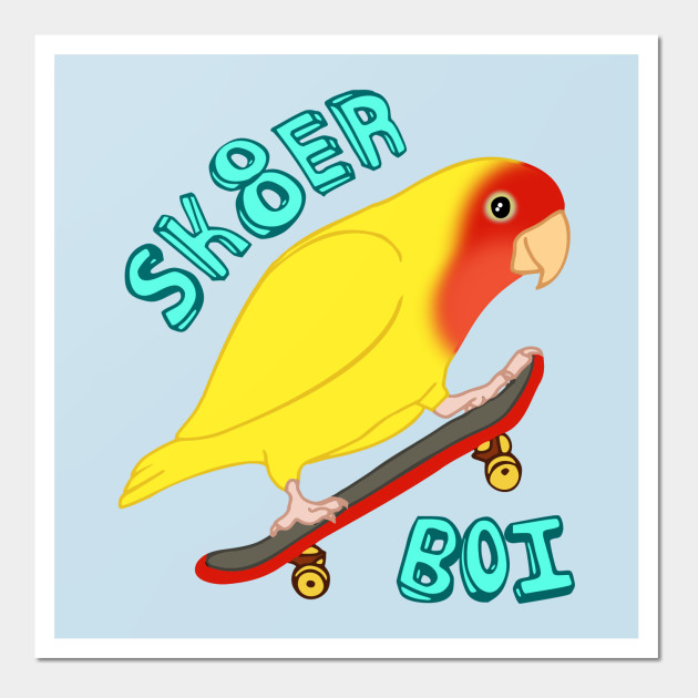 sk8er birb - yellow lovebird - Parrot - Wall Art | TeePublic
