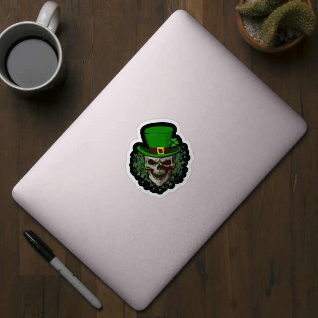 Skull St Patricks Day Clover Shamrocks Cool Irish Leprechaun
