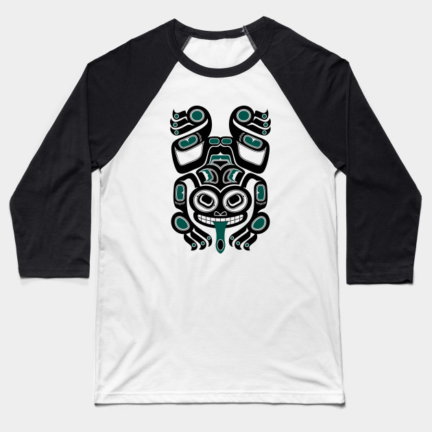 Teal Blue and Black Haida Spirit Tree Frog Baseball T-Shirt