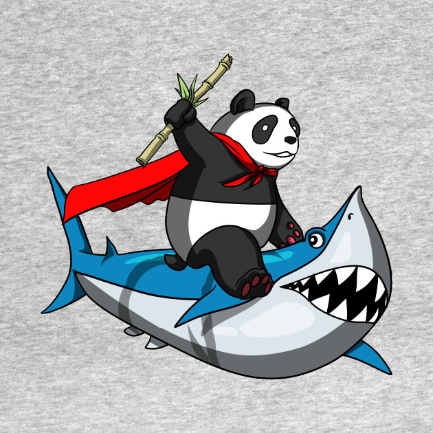 Panda Bear Riding Shark Funny Cartoon Fantasy