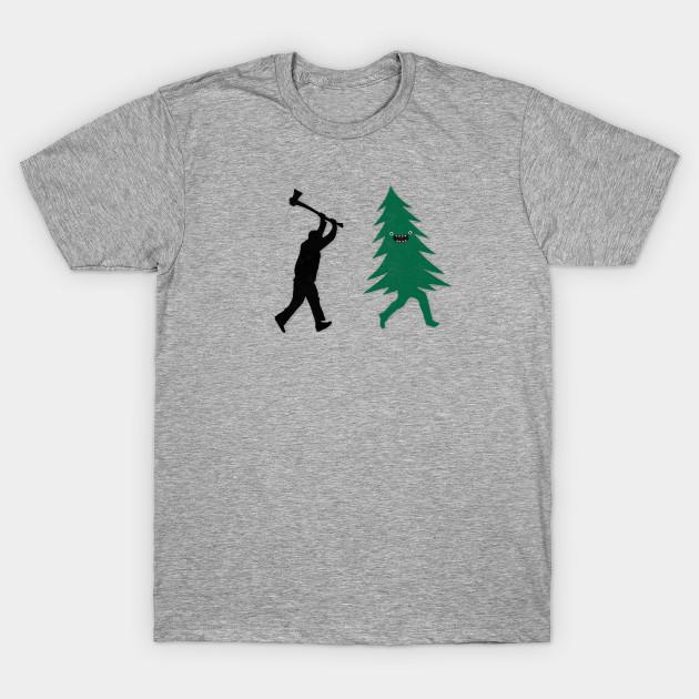 6b7daaa90 Funny Christmas Tree Hunted by lumberjack (Funny Humor) - Ax - T ...