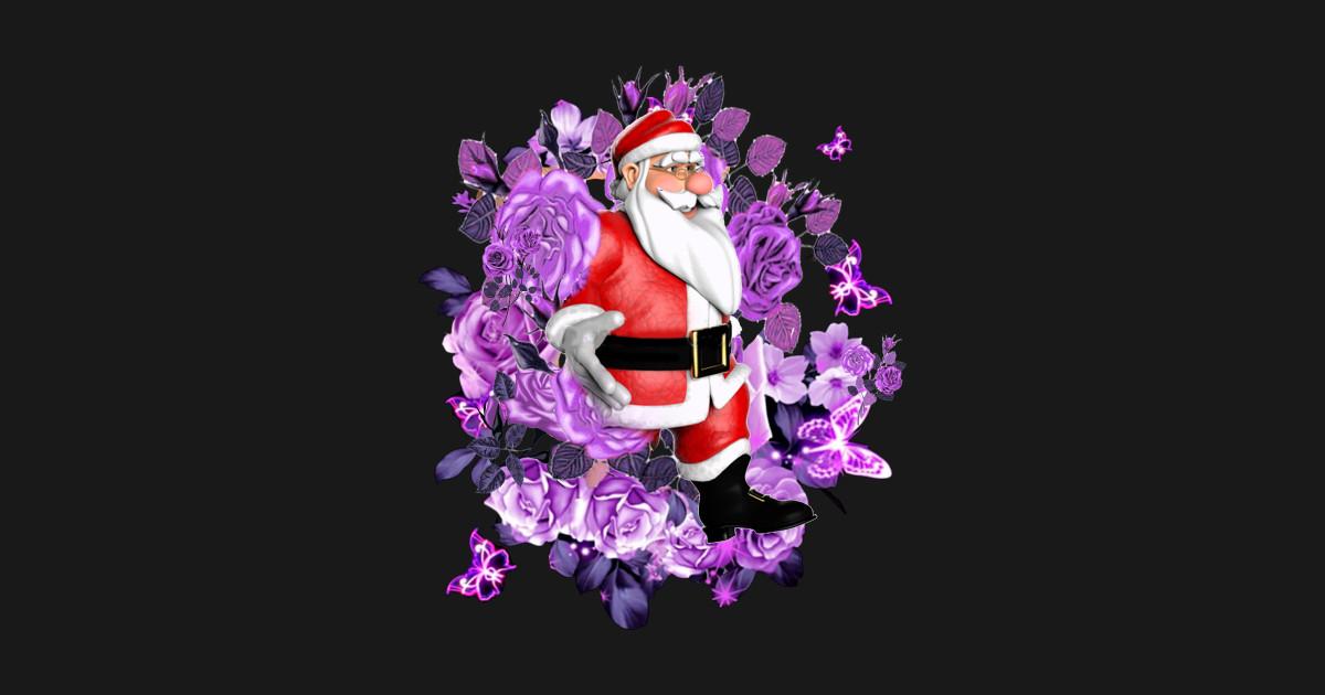 Christmas Purple.Santa Purple Flowers Christmas Gift By Bunsanstore1