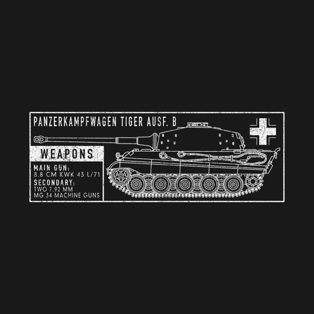 German King Tiger II WW2 Tank Blueprint Gift