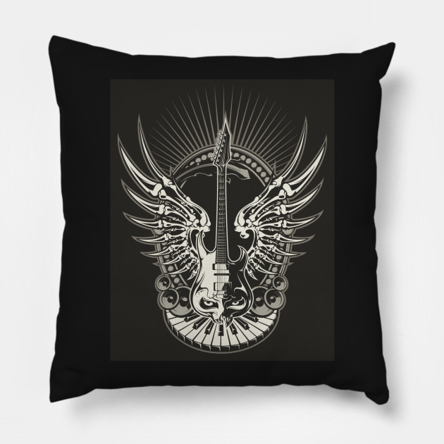 Face Made Of Guitar Bone Wings Keyboard Instuments Pillow
