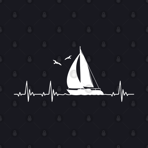 Sailboat Sailor Heartbeat for Sailing lovers
