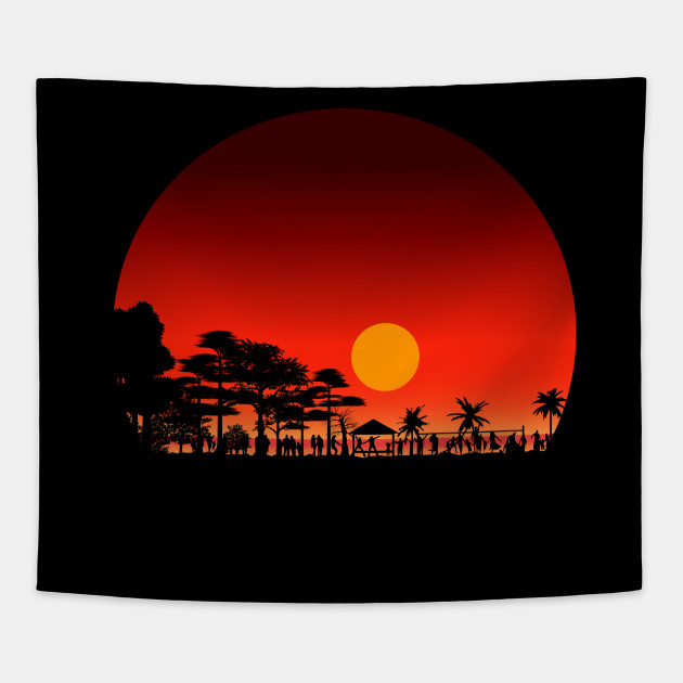 Beach Sunset All Over Adult Tank Top