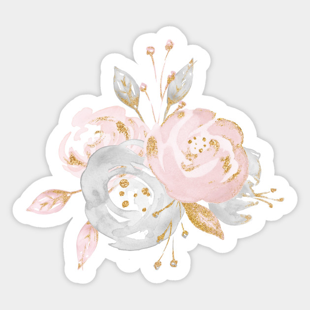 Pretty Rose Gold Watercolor Flowers Floral Sticker
